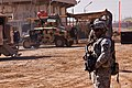 US Army 50887 TAJI, Iraq-1st Sgt. Derrick Allard, from Charleston, S.C., Company F, 3rd Battalion, 227th Aviation Regiment, 1st Air Cavalry Brigade, 1st Cavalry Division, Mutli-National Division - Baghdad, observes.jpg