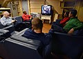 US Navy 040515-N-6278K-081 Sailors take time out to watch television and relax in the Crew's Lounge located in the Ship's Library aboard USS George Washington (CVN 73).jpg