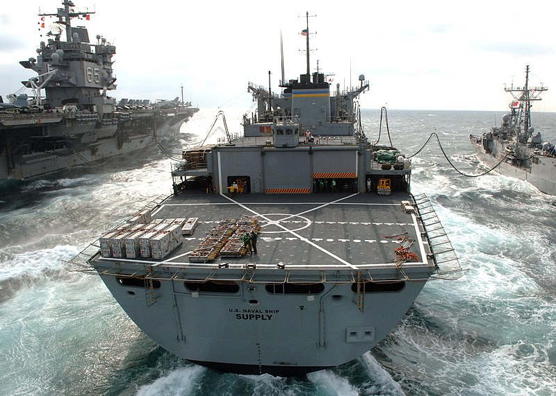 File:US Navy 060303-N-0119G-004 The Military Sealift Command fast combat support ship USNS Supply (T-AOE 6) conducts a connected replenishment (CONREP) and vertical replenishment (VERTREP).jpg