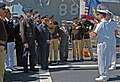 US Navy 060406-N-0640K-013 USS Bunker Hill (CG 52) Commanding Officer, Capt. Charles M. Gaouette, talks with members of the National Pakistan Defense College.jpg