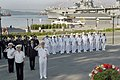 US Navy 060704-N-2468S-001 Commander, U.S. Seventh Fleet, Vice Adm. Jonathan W. Greenert, lower-right, salutes alongside his Russian counterparts during a wreath laying ceremony held at the Russian Navy Pacific War Memorial.jpg