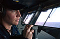 US Navy 070131-N-1805M-071 Operations Specialist 3rd Class Cynthia Davis from Las Vegas, waits for a response over the sound powered telephones aboard USS Ronald Reagan (CVN 76).jpg