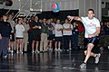US Navy 070211-N-9760Z-092 Yeoman 3rd Class Sean Rogers participates in a dodgeball tournament sponsored by Morale, Welfare and Recreation (MWR) aboard the nuclear-powered aircraft carrier USS Nimitz (CVN 68).jpg