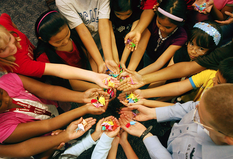 File:US Navy 070718-N-0807W-049 Students from Jack N. Darby Elementary School learn and construct Japanese origami cranes from a U.S. Navy Sailor as a symbolic gesture toward peace in Sasebo, Japan.jpg