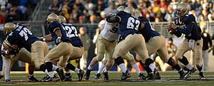 Blocking (American football) - Navy's line blocking.