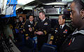 US Navy 090112-N-7705S-071 Lt. Cmdr Brad Terry, center, executive officer of the Los-Angeles class attack submarine USS Boise (SSN 764), explains sonar room operations to Republic of Korea Navy Chief of Naval Operations Adm. Ju.jpg