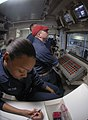 US Navy 090424-N-4879G-090 Sailors monitor landing craft, air cushioned operations inside the well deck control room of the amphibious dock transport ship USS Mesa Verde (LPD 19).jpg