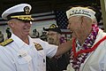 US Navy 091207-N-8623G-016 Adm. Robert F. Willard, commander of U.S. Pacific Command, speaks with a Pearl Harbor survivor during a U.S. Navy and National Park Service ceremony commemorating the 68th anniversary of the Dec. 7, 1.jpg
