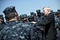 US Navy 110624-N-UH963-146 Secretary of the Navy (SECNAV) the Honorable Ray Mabus addresses Sailors during an all-hands call aboard the Arleigh Bur.jpg