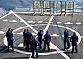 US Navy 110929-N-ZF681-256 Sailors fire 9 mm service pistol during small arms weapons qualifications aboard the guided-missile destroyer USS Halsey.jpg