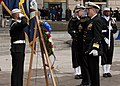 US Navy 111111-N-PR464-005 Rear Adm. Patrick Lorge and retired Rear Adm. Timothy Heely lay a wreath during the Veteran's Day ceremony at the U.S.jpg