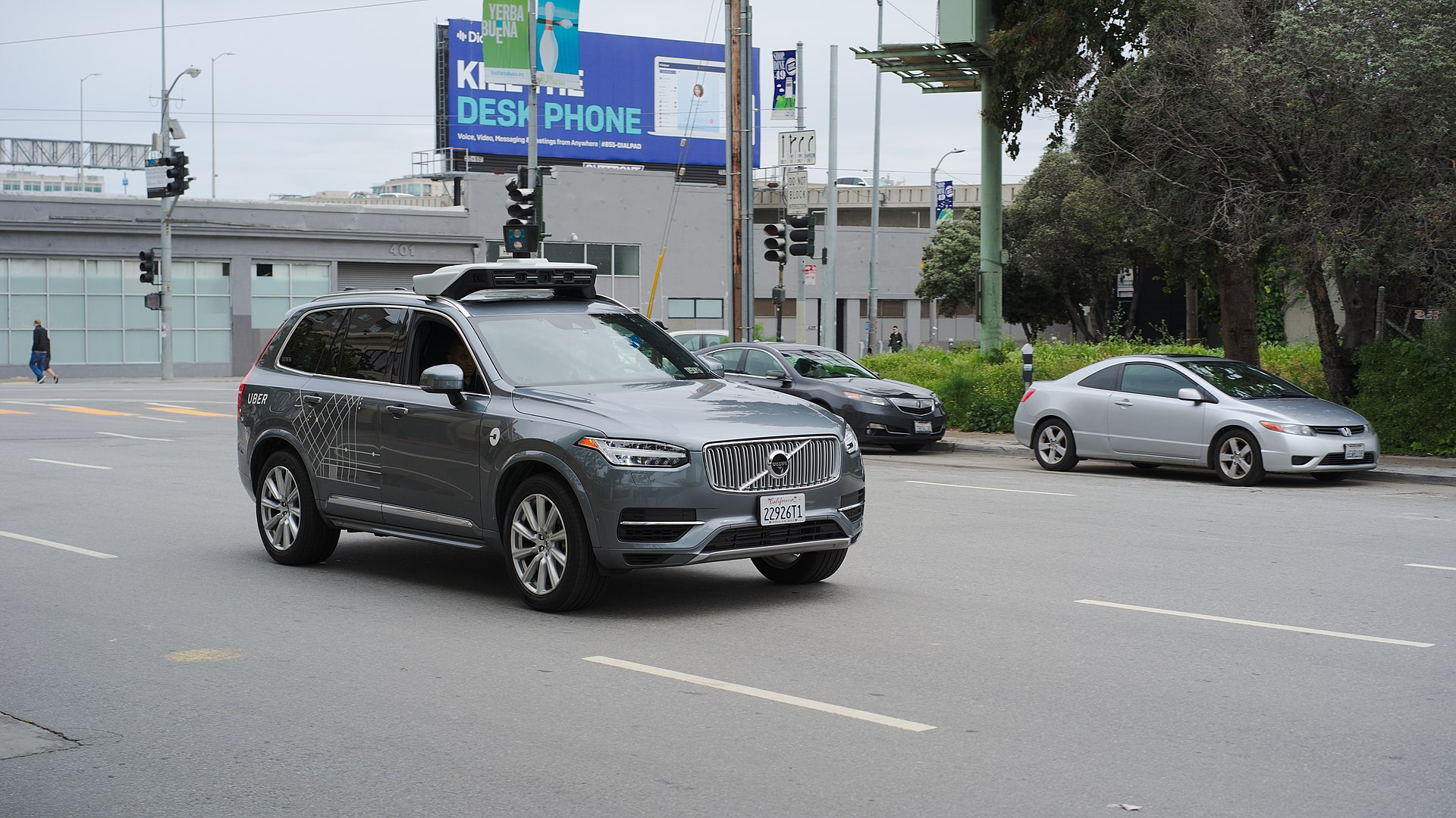 Uber Self Driving Volvo at Harrison at 4thjpg
