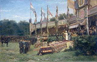 Uitreiking van het Lombokkruis door Koningin Wilhelmina op het Malieveld in Den Haag, 6 juli 1895