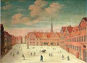Johannes Rach - Gråbrødretorv in central Copenhagen as it appeared in 1748