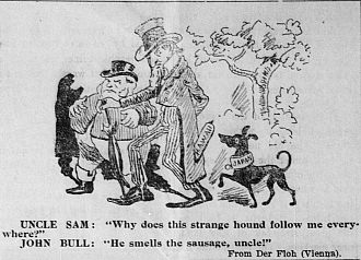 "John Bull - An 1897 editorial cartoon with John Bull, Uncle Sam, and a dog symbolising Japan from the newspaper the Hawaiian Gazette. The dog follows the ""Hawaii"" sausage in Uncle Sam's pocket."