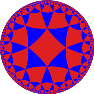 AdS/CFT correspondence - A tessellation of the hyperbolic plane by triangles and squares.