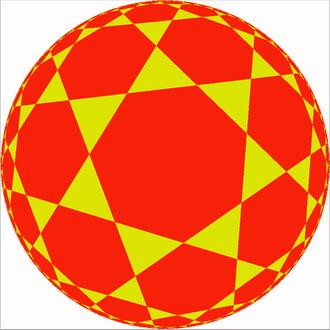 Beltrami–Klein model - A hyperbolic triheptagonal tiling in a Beltrami–Klein model projection
