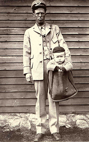 Mail bag - Mailing children is forbidden, photo courtesy of Smithsonian Institution