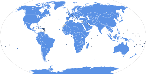 A world map showing the members of the UN, according to the UN. Note that Antarctica has no government; political control of Western Sahara is in dispute; and the territories administered by the Republic of China (Taiwan) and Kosovo are considered by the UN to be provinces of the People's Republic of China and Republic of Serbia, respectively.