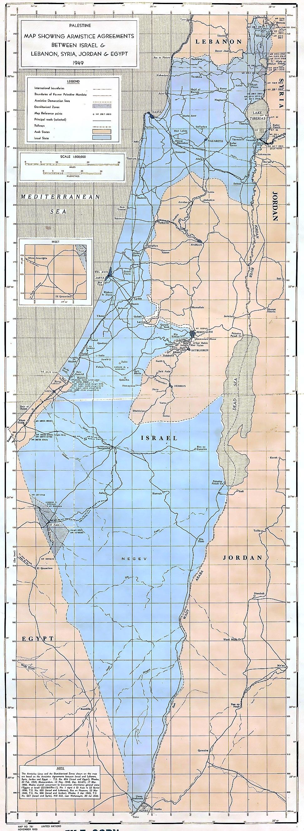 United Nations Palestine map showing Armistice Agreements between Israel & Lebanon, Syria, Jordan & Egypt 1949-1950