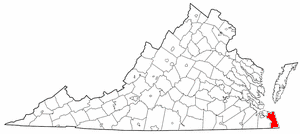 National Register of Historic Places listings in Virginia Beach, Virginia - Location of Virginia Beach in Virginia