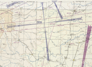 Visual Aural Radio Range - Depiction of a VAR on the 1950 Dallas sectional chart.