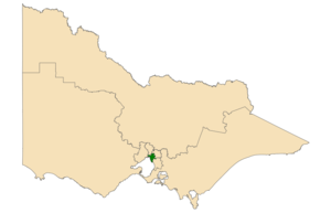 Southern Metropolitan Region - Location of Southern Metropolitan Region (dark green) in Victoria