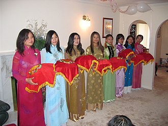 Traditional Vietnamese wedding - Gifts are exchanged in a similar manner for both the engagement and the wedding ceremony.