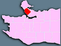 Location of the West End shown in red.