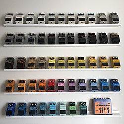 Various BOSS compact pedals.