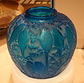 Vase (Perruches) by René Jules Lalique, 1922, blown four mold glass - Cincinnati Art Museum - DSC04355.JPG