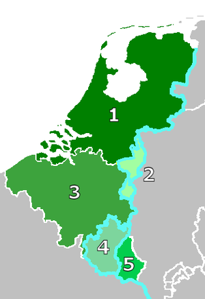 Duchy of Limburg (1839–67) - Exchange of 1839. The removal of Western Luxembourg from the German customs union (4) by  Belgium (3) results in compensation by the Netherlands (1) by the creation of the Duchy of Limburg (2).