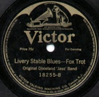 """Juke joint - Label of 78-rpm gramophone record of """"Livery Stable Blues – Fox Trot"""" (1917)"""
