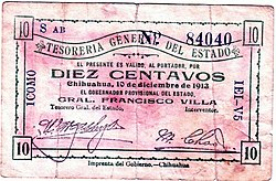 Money issued by the Villa revolutionary government of Chihuahua in 1913