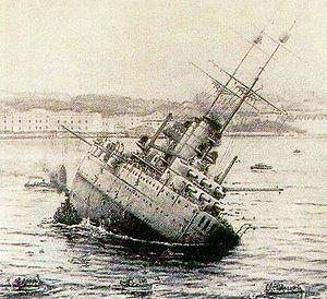SMS Viribus Unitis - Viribus Unitis sinking.