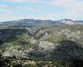 Vista de la serra de l'Almirall i el pic de la Safor des de la cova d'en Moragues, la Vall de Gallinera.jpg