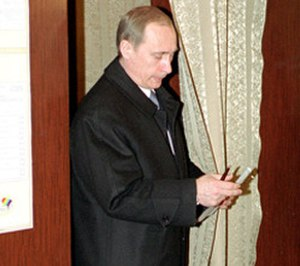 Russian presidential election, 2000 - Vladimir Putin casting his vote