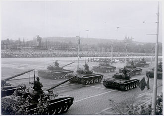 Czechoslovak People's Army - CSPA tank parade in Prague on Victory Day, 9 May 1985.