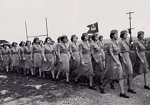 A group of women in uniform marching. They carry a small flag with the Corps of Engineers; castles surmounted by the letter D.