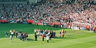 2003–04 West Bromwich Albion F.C. season - The Albion team celebrate winning promotion to the Premier League.