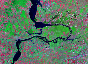 Zhiguli Nature Reserve - Satellite image of the Samara Bend in the Volga River.  The Zhiguli Reserve is the dark green on the north-central section of the peninsula