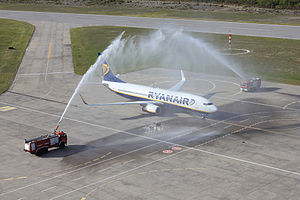 Aircraft rescue and firefighting -  Fire fighters conducting a water salute, in Iceland