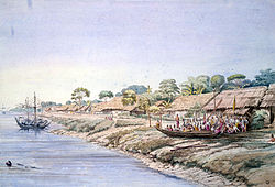 Watercolor of Henzada in 1855