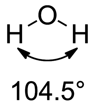 Bent's rule - Shape of water molecule showing that the real bond angle 104.5° deviates from the ideal sp3 angle of 109.5°.