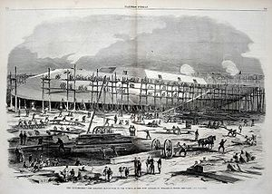 USS Dunderberg - Illustration from Harper's Weekly showing Dunderberg under construction in late 1863. Note the prominent ram at the ship's bow.