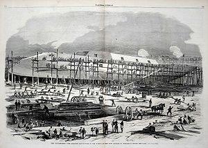 William H. Webb - USS Dunderberg under construction at the Webb shipyard, 1863