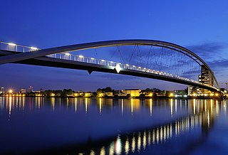 Three Countries Bridge arch bridge which spans the Rhine between France and Germany