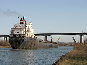 John B. Aird transiting the Welland Canal, just north of St. Catharines Skyway bridge.