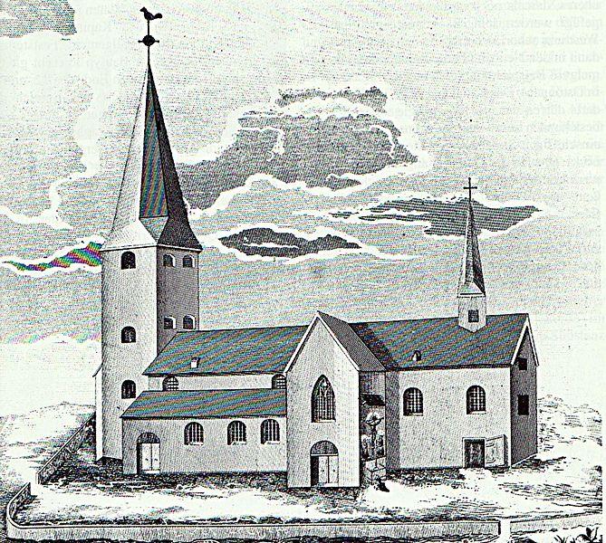 File:Werl Büderich Vorgängerkirche von St. Kunibert Litho aus dem 19. Jahrhundert.jpg
