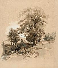 Maisema, jossa on keskellä suuria lehtipuita, vasemmalla sivulla joki siltoineen sekä pyykkiä pesevä nainen